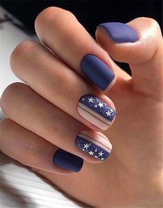 90 Inspirational Blue Nail Art Designs and Ideas Spring 2018 Square Nail Designs, Cute Nail Art Designs, Blue Nail Designs, Short Nail Designs, Beautiful Nail Designs, Beautiful Beautiful, Dark Blue Nails, Nail Art Blue, Multicolored Nails