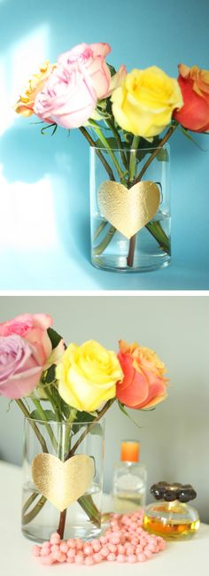 DIY gold leaf heart vase for your valentine flowers / THe Sweet Escape