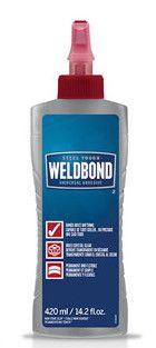 Weldbond® Glue - 14.2oz Weldbond® Glue - is a favorite of many mosaic artists. This glue is non-toxic, dries clear, adheres to most surfaces and is easy to use. Not intended for moist areas or outdoor