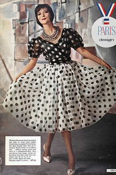 Generously sized black and white polka dots from 1961. #dress #vintage #retro #fashion #clothing #1960s #sixties #polka_dots