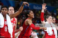 Angel Mccoughtry #8, Maya Moore #7 and Lindsay Whalen #4 of the United States reacts during a Women's Semifinal Basketball game between the United States and France on Day 13 of the Rio 2016 Olympic Games at Carioca Arena 1 on August 18, 2016 in Rio de Janeiro, Brazil.