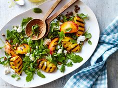 Grilled Peach-and-Arugula Salad with Feta Recipe