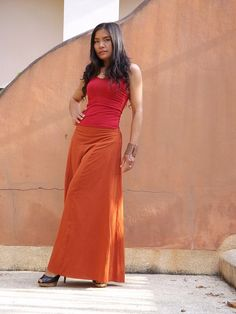 Wide Leg Pants...Flared Pants... Color Orange by Ablaa on Etsy, $39.00