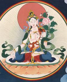 White Tara (Tib. སྒྲོལ་དཀར་, Drolkar) — manifestations of Tara, white in colour.  #ColoringForMeditation #TibetanArt #TibetanColoring #Thangka #BuddhistArt #BuddhistColoring
