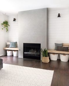 5 ways to update a fireplace - how to stencil a fireplace, do a shiplap fireplace DIY, DIY cement fireplace, tile fireplace, how to paint a fireplace. Tiled Fireplace Wall, Concrete Fireplace, Farmhouse Fireplace, Home Fireplace, Fireplace Remodel, Living Room With Fireplace, Fireplace Surrounds, Fireplace Design, Fireplace Ideas