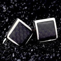Stainless Steel Silver Square Cufflinks #cufflinks