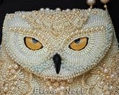 Items similar to Snowy owl beaded necklace - coin bag with owl.  Necklace Bead Embroidery Art on Etsy