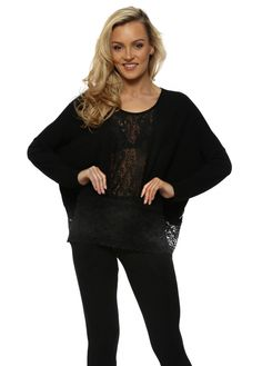 A POSTCARD FROM BRIGHTON Binkie Black Lace Insert Slouch Top