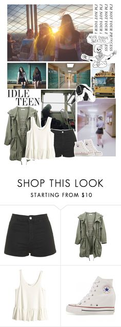 """School girls do it better"" by savingmarrish ❤ liked on Polyvore featuring Topshop, H&M, ASOS, Børn and Converse"