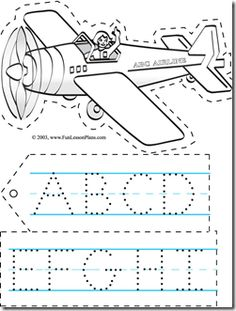 I love printing out this airplane alphabet banner from www.funlessonplans.com Let the kids color it and trace the dot letters. Great tracing, letter writing and cutting practice.