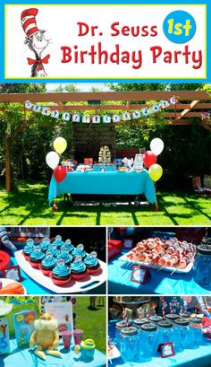 Unique and creative first birthday party ideas for girls, 1 year birthday party themes that are not princess or cartoon-based. Dr Seuss Party Ideas, Dr Seuss Birthday Party, 1st Birthday Themes, Minion Birthday, 1st Boy Birthday, Boy Birthday Parties, Birthday Ideas, Olaf Birthday, Happy Birthday