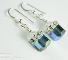 Bllue crystal earringsSwarovski cube by EndoraJewellery on Etsy, $26.00