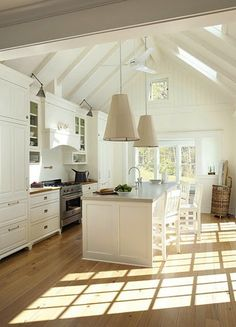 Love all of the sunlight in the kitchen -- especially from the high ceiling -- but hate hate hate the lights.
