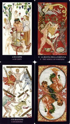 """The Bacchus Tarot arrived in my mailbox last night.  It's a LARGE deck (3"""" x 6"""" cards), with illustration done by the Scapini husband & wife team. http://www.aeclectic.net/tarot/cards/bacchus/review.shtml"""