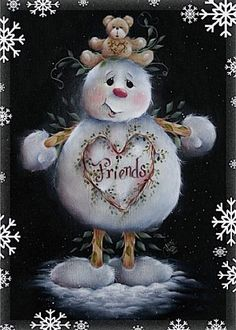 This is adorable. wish I could paint like that! Design by Jamie Mills Price-Decorative Painting Frosty The Snowmen, Cute Snowman, Snowman Crafts, Christmas Snowman, Winter Christmas, Vintage Christmas, Christmas Ornaments, Christmas Lights, Christmas Time