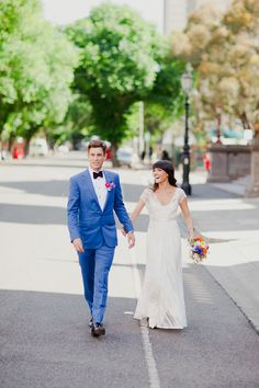 Colorful Fitzroy Town Hall Wedding  Read more - http://www.stylemepretty.com/australia-weddings/victoria-au/2014/01/06/colorful-fitzroy-town-hall-wedding/