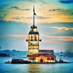 Picture of Kizkulesi Istanbul City, Istanbul Turkey, Visit Turkey, Lighthouse Art, Flower Landscape, Hagia Sophia, Pour Painting, Nature Photos, Screen Shot