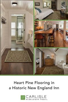 Transport yourself back in time in this historic New England Inn. Carlisle's Prefinished Heart Pine added a warm charm, reminiscent of the feeling of the original 19th Century tavern. See for yourself how this beautiful flooring brings the rooms to life. #heartpine #designinspo #woodflooring Heart Pine Flooring, Pine Floors, Wolfeboro Inn, Historic New England, Wide Plank Flooring, Carlisle, 19th Century, Rooms, Warm