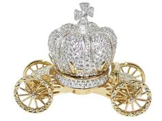 Royal crystal Cinderella fairy tale carriage cart trinket box with Swarovski crystals.