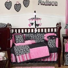 Engaging pink black baby nursery room decoration using pink stripe baby bed valance including pink black cheap baby crib bedding set and pink black heart Girl Crib Bedding Sets, Girl Cribs, Crib Sets, Nursery Bedding, Baby Cribs, Girl Nursery, Nursery Room, Nursery Decor, Bedroom Decor