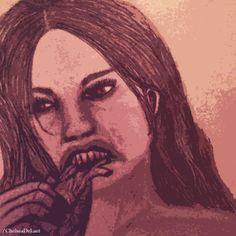 Vampire Chick Eating A Heart (In Progress) #Drawing # Vampire #Heart