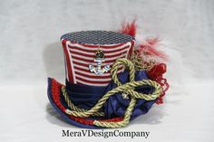 Red White Blue Mini Top Hat Steampunk Hat by MeraVDesignCompany, $35.00