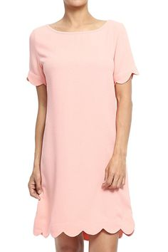 TheMogan Women's Scalloped Hem Short Sleeve Shift Dress Peach S