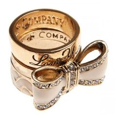 Gold, vintage rings, bow ring & love you ring
