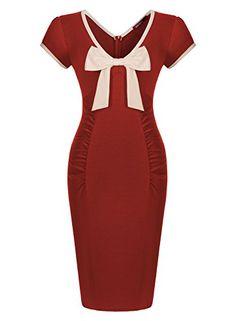 Miusol Damen V-Ausschnitt Kurzarm Vintage Cocktailkleid Schleife Stretch 50er Jahre Kleid Rot Groesse S