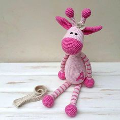 Personalized nursery girl gift, Crochet giraffe, Personalized toy, nursery decor This striped giraffe is perfect gift for babies and children, expectant moms, son, daughter, grandchild or for yourself!  It is made with safety eyes. Note there is no wire inside, it is completely soft.  #personalizedgifts #personalizedtoys #personalizednursery
