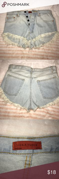 Signature// high waisted shorts Only wore one time, they are in great condition. Very cute, high waisted shorts, a light washed color. signature 8  Shorts Jean Shorts