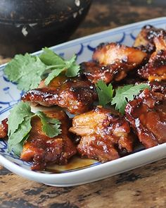 Sticky Chicken With Sweet Chilli Sauce, Soy Sauce, Crunchy Peanut Butter, Chicken Thighs, Fresh Coriander Duck Recipes, Chicken Recipes, Chicken Treats, Turkey Recipes, Cooking Recipes, Healthy Recipes, Healthy Meals, Healthy Food, Delicious Recipes