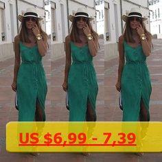 2016 Casual Summer Dress Sleeveless Women Maxi Long Dresses Green V-Neck High Waist Front Wrap Women Beach Dress Vestidos S-XL