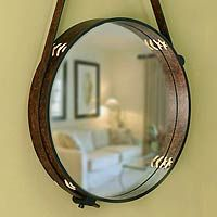 "Leather framed mirror ""New Moon"" 