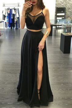 Black Prom Dresses,Prom Dresses Long,Cheap Prom Dresses for Women, Party Dresses, Evening Dresses,Gowns Prom,2 pieces prom dress side slit prom Dress,long prom dress,party dresses,Prom Gown,SVD306