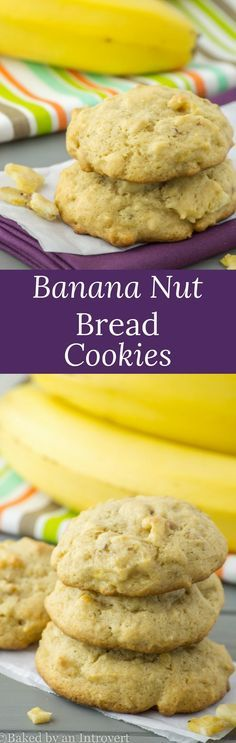 Soft-baked and simple banana nut bread cookies. In less than 30 minutes you can have cookies that taste just like banana nut bread! via @introvertbaker