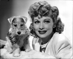 Lucille Ball and a Wire Fox Terrier