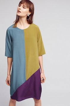 Slide View: 1: Colorblocked Silk Dress