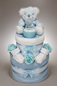 Baby Boy Two Tier Nappy Cake New Born Baby Shower Gift with Sock Cupcake and Blue Teddy Bear Tiny Togs Ltd http://www.amazon.co.uk/dp/B00NZ6U3KS/ref=cm_sw_r_pi_dp_JJ6Uwb0PYM7B5