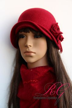 Купить Валяный комплект Red Rose - цветочный, войлок ручной работы, 100% шерсть