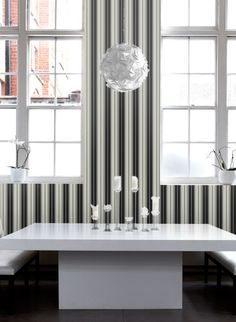 Marvelous Sophisticated Italian vinyl wallpaper featuring multi width stripes in black and silvery grey http