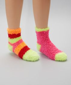 Take a look at this Pink & Yellow Stripe Fuzzy Socks Set by Crazy Sox on #zulily today!