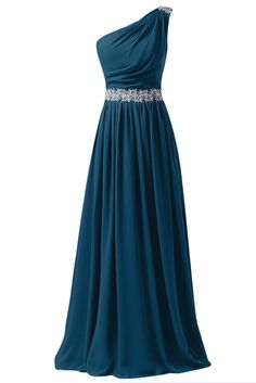 Sunvary 2015 One Shoulder Appliqued Chiffon Bridesmaid Dresses Prom Gowns Long- US Size 17W- Dark Teal