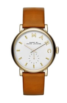 MARC BY MARC JACOBS 'Baker' Leather Strap Watch, 37mm @Nordstrom