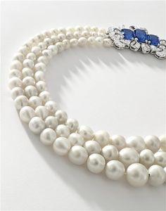 Triple-Strand Natural Pearl and Sapphire Necklace. (Est. HK$26 – 30 million / US$3.3 – 3.8 million