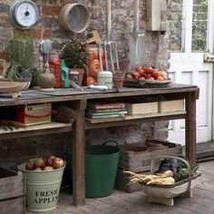 Garden with work space    Set up a potting bench in your shed, with everything you need to hand. Keep tools on wall hooks to leave your bench and floor space clear, and tuck crates, seed trays, baskets and buckets underneath.