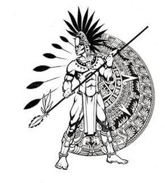 Aztec Tattoo Designs - I love the idea of this for a tattoo. Although I'd have more of a half mandala design and I'd also have a sexy native women instead of the male. Aztec Warrior Tattoo, Warrior Tattoos, Armband Tattoo, Tattoo Ink, Sleeve Tattoos, Mayan Tattoos, Polynesian Tattoos, Indian Tattoos, Aztec Drawing