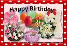 Beautiful Birthday Card with flowers, balloons, gifts and a teddy bear - ツ Happy Birthday 4 You: Pictures, Images & Gifs ツ