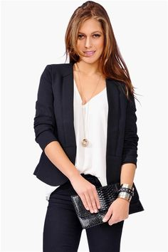 Basic, simple, workable. Black and white business attire for a typical day at the office.