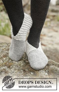 Felted slippers with stripes, worked from the toe backwards in DROPS Lima. Free knitting pattern by DROPS Design.